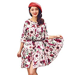 Cozer Creation Floral Printed western wear White And Red Skirt Dress Material