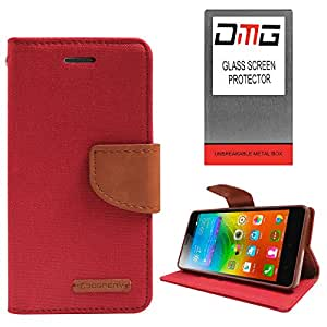 DMG Premium Canvas Diary Wallet Folio Book Cover for Lenovo K3 Note (Red) + Tempered Glass Screen Protector