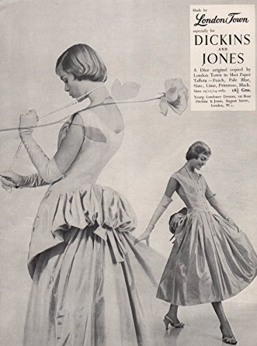 london-town-dickins-jones-dior-shot-paper-taffeta-fashion-advert-1955-old-print-antique-print-vintag