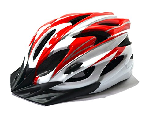 【AHKAH WORKS】男女兼用 軽量 自転車用 ヘルメット サングラス付 サイズ調整可 (レッド×ホワイト)