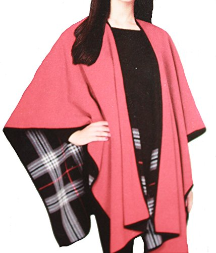 Ike Behar Reversible Fashion Wrap, Black with Stripe and Red