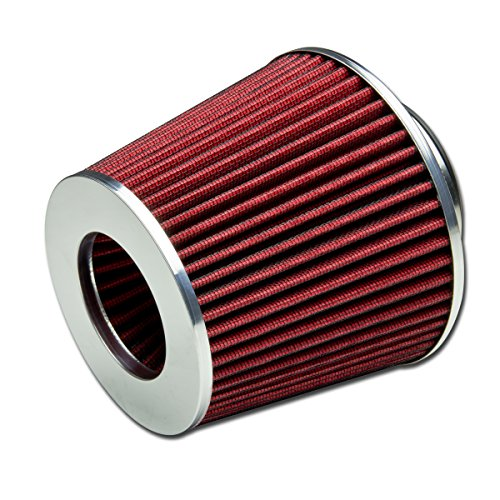 "3"" Inlet x 6.3"" Air Intake Chrome Open Top Cone Air Filter (Red)"