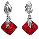 Sterling Silver Red Cinnabar with Leaf Post Earrings