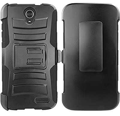 ZTE Grand X 3 Case, E-Time (TM) Heavy Duty Dual Layer Holster Case Kick Stand with Locking Belt Swivel Clip + Ultra-sensitive Stylus Pen by E-Time