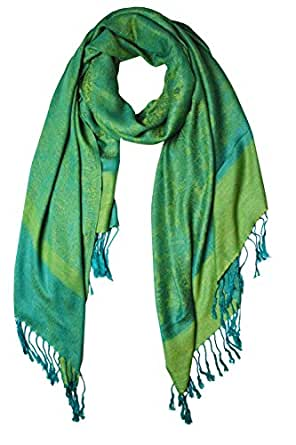 Peach Couture Womens Paisley Jacquard Pashmina Scarf Stole Wrap Shawl (Blue and Green)