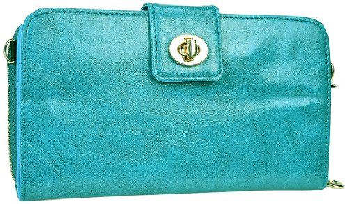 Kroo Magnetic Clutch Wallet For Samsung Galaxy Mega 6.3 - Frustration-Free Packaging - Teal