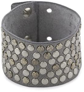 """Streets Ahea0d 1.5"""" Grey Leather Studded Cuff Bracelet with Ultra Suede"""