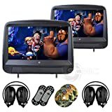Sonic-Audio-HR-9A-Universal-Leather-Style-Car-DVDMultimedia-Touch-Screen-Headrest-Monitors-with-USBSD-and-Games-Includes-2-x-Wireless-Headphones-Black-Colour