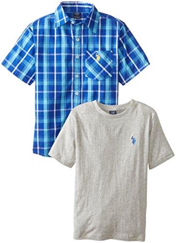 U.S. Polo Assn. Big Boys' 2 Piece Short Sleeve Plaid Cotton Shirt With Crew Neck T-Shirt, Horizon Blue, 8