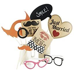 Ginger Ray Photo Booth Vintage Style Wedding Mr. & Mrs. Party Props Kit, Mixed