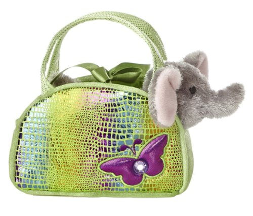 Aurora World Shimmery Fancy Pals Green Plush Toy Pet Carrier with Butterfly - 1
