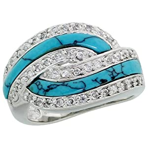 Sterling Silver Cubic Zirconia Knot Ring w/ Synthetic Turquoise Inlay, 9/16