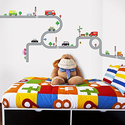 Decowall DW-1204, 10 Transports and Roads Wall Stickers/wall decals/wall transfers/wall tattoos/wall stickers