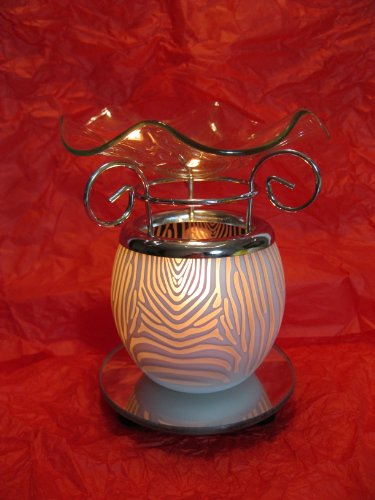 Black And White Zebra Animal Design Decorative Glass Electric Fragrance Lamp Aromatherapy Oil Warmer/Burner Night Light In Gift Box # Mt-030