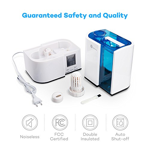 TaoTronics Cool Mist Humidifier, Ultrasonic Air Humidifiers for Bedroom with No Noise, LED Display, 4L/1.1 Gallon Capacity, Mist Level Control, and Timer, US Plug 120V, UPGRADED VERSION