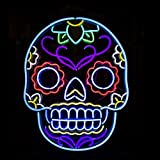 HOZER Professional 24*20 Skull Design Decorate Neon Light Sign Store Display Beer Bar Sign Real Neon Signboard for Restaurant Convenience Store Bar Billiards Shops