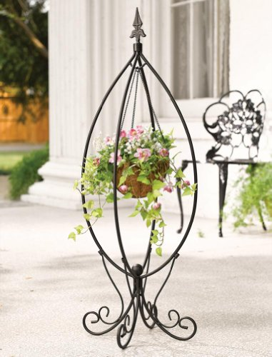 Fleur-De-Lis Hanging Basket Plant Stand By Collections Etc