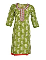 Global Women's Cotton Straight Kurta (GW37Green40015, Green, 40)