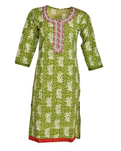 Global Women's Cotton Straight Kurta (GW37Green40015, Green, 40)