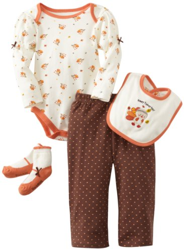 Vitamins Baby-Girls Infant 4 Piece Creeper Pant Set, Brown, 12 Months