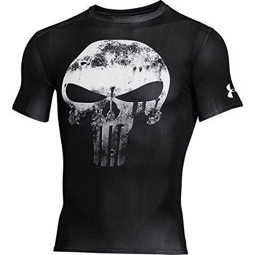 Under Armour Alter Ego Comp Punisher Team - T-shirt a compressione per uomo, colore: Bianco/Nero, Uomo, Alter Ego Comp Punisher Team-blk//wht, nero, M