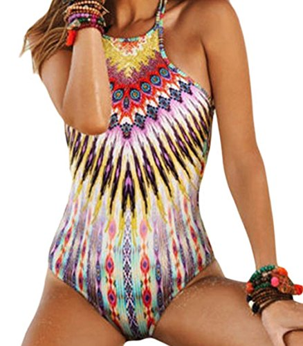 YFFaye Sunbeam Tribal Print High Neck One-piece Swimsuit(Size,XXL) (Medieval Dres)