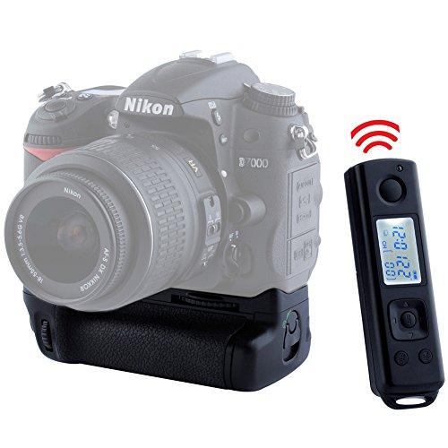 Neewer Batterie Grip Poignée d'Alimentation Extension de Batterie pour Nikon D7000 + Télécommande avec LCD Ecran (Remplacement de Nikon MB-D11)