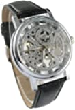 Youyoupifa Mens Mechanical Skeleton Watch Hand Wind Up Silver Dial Black Leather Strap