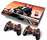 PS3 PlayStation 3 Original/Fat/Normal Skin Stickers PVC for Console + 2 Controllers/ Pads Decal Protector Cover Art Leather Effect GTA