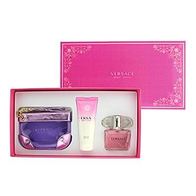 Versace Bright Crystal Perfume 3 PCS Gift Set for Women - 3.0 oz Eau de Toilette Spray + 3.4 oz Body Lotion + Versace Handbag