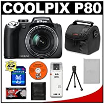 Nikon Coolpix P80 10.1 Megapixel Digital Camera with 18x VR Optical Zoom + 4GB SDHC Card + Card Reader + Spare EN-EL5 Battery + Digital Camera Case