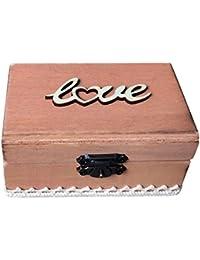 Segolike Rustic Wedding Wooden Love Engagement Ring Jewelry Box Bearer Box Ring Display Case