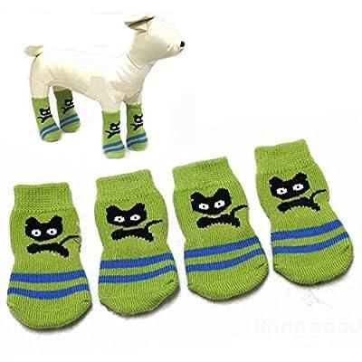 Coeus Cat Hundesocken kleines Katzen-Muster Anti-Rutsch-Maschenbindung warme Haustier-Socken von Coeus Home - Gartenmöbel von Du und Dein Garten
