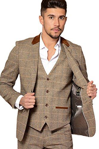Mens-Marc-Darcy-Designer-Tan-Tweed-Herringbone-Check-Three-Piece-Suit