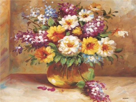 Oil Painting 'Colorful Flowers' Printing On Perfect Effect Canvas , 20x27 Inch / 51x68 Cm ,the Best Gym Decoration And Home Artwork And Gifts Is This Imitations Art DecorativeCanvas Prints