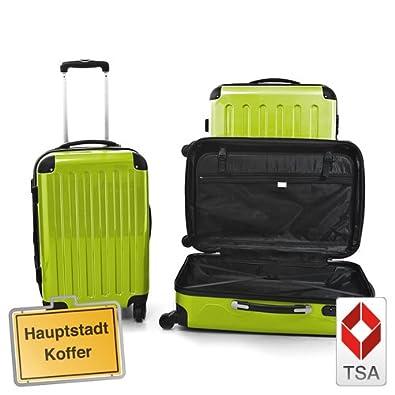 3 Valises rigide à roulettes avec serrure TSA 4 roues vert pomme Polycarbonate set Petite 57L, median 87L, Grande 130 L Hauptstadtkoffer