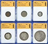 1892 P-Mint 6-Coin Year Set with Morgan Dollar - SGS Certified Authentic