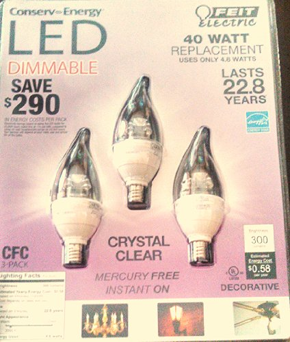 3 Pack Feit Electric Candelabra Dimmable Led