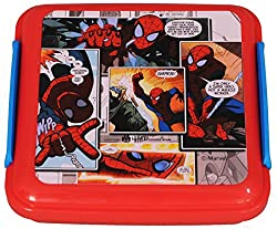 Marvel Spiderman Plastic Lunch Box, 330ml, Red/Blue