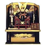 ◆五月人形 久月作《麒麟児之兜・麒麟児塗屏風 高床台飾り》(正絹糸縅)◇久月Qプレミアム付(間口80cm)