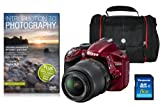 Nikon D3200 SLR Camera with 18-55mm VR Lens Kit - Red (24.2MP, CMOS Sensor) 3 inch LCD