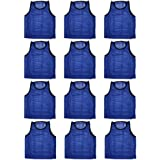 BlueDot Trading Adult Sports Pinnies High Quality Scrimmage Training Vests (12-Pack)
