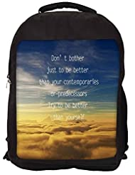 Snoogg Better Than Yourself Backpack Rucksack School Travel Unisex Casual Canvas Bag Bookbag Satchel
