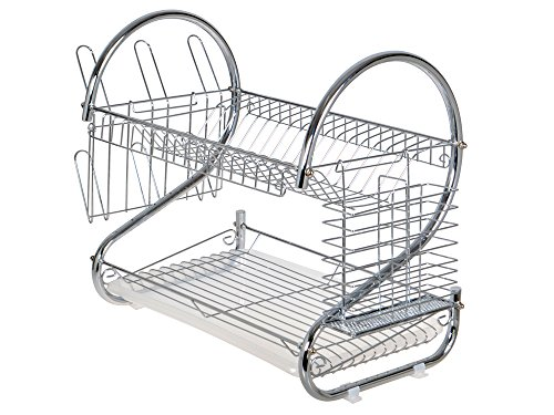 TMS Chrome 2 Tiers Dish Drying Rack Drainer Dryer Tray Kitchen Rv Plate Cup Storage