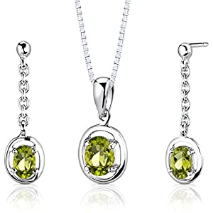 Sterling Silver Rhodium Nickel Finish 1.75 carats total weight Oval Shape Peridot Pendant Earrings and 18 inch Necklace Set