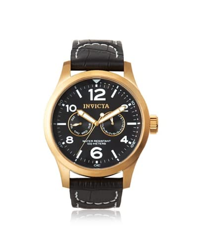 Invicta Men's 10491 Specialty Black Genuine Calf Leather Watch