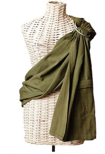 "Maya Wrap Lightly Padded Baby Ring Sling Carrier Large (Above 5'9"") Olive"