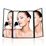 uvistar スタンドミラー 三面化粧鏡 LED内蔵ミラー 折りたたみ式 LEDライト 8個 角度調整可能 ブラック