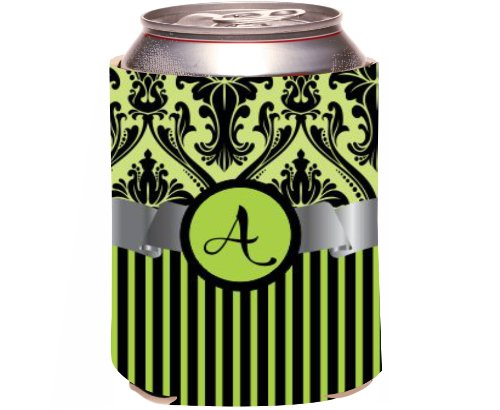 "Rikki Knight Beer Can Soda Drinks Cooler Koozie, Letter ""A"" Initial Monogrammed Design, Damask And Stripes, Lime Green front-983460"