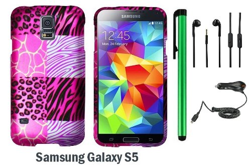 Samsung Galaxy S5 Premium Pretty Design Protector Hard Cover Case (2014 March Released; Carrier: Verizon, At&T, T-Mobile, Sprint) + 3.5Mm Stereo Earphones + Car Charger + 1 Of New Assorted Color Metal Stylus Touch Screen Pen (Pink Exotic Skins : Leopard &